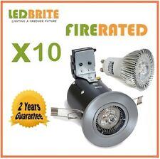 10 X FIRE RATED LED DOWNLIGHTS 240V MAINS GU10 FIXED 3W - 6W DIMMABLE