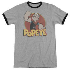 Popeye Sailor Cartoon Retro Ring Flexing Muscle Ringer Tee Shirt Adult S-3XL