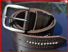 Stainless steel buckle 3.8 cm wide studded genuine leather man woman belt 2020