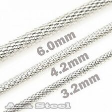 "MEN'S 20""~30"", 3.2MM 4.2MM 6MM Stainless Steel Hollow Round Snake Chain Necklace"