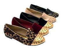 WOMENS STUDDED SPIKE STUDS SLIPPERS LOAFERS BALLET PUMPS FLATS SHOES LADIES 3- 8