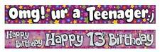 HAPPY BIRTHDAY PARTY BANNER AGE 13 or TEENAGER Girl or Boy 2.6M