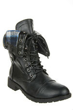 Black Plaid Lace Up Military Boot REFRESH TERRA-01