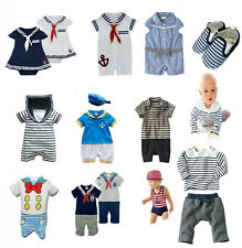 Baby Sailor Boy & Girl Outfit / Dress . Suit (Anchor, Stripes, Marine, Shoes)