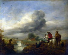 Photo/Poster - Two Vedettes On Watch By A Stream - Wouwerman Philips 1619 1668