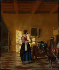 Art Photo Print - Woman With Water Pitcher And Man By Bed Maidservant - Hooch Pi