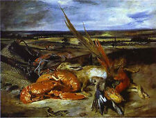 Art Photo Print - Still Life With Lobsters - Delacroix Eugene