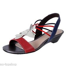 Cheap MG Shoes Womens Leather Low Wedge Comfortable  Dress Sandal Dione Red MT