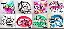 airbrush script cursive graffiti bubble letters name design t-shirt neon colors!