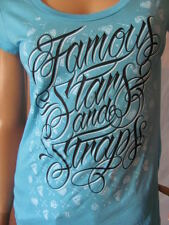 New FAMOUS STARS & STRAPS Womens Blue S/S Printed Fancy Jrs Scoop Tee Shirt $24