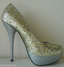 "NEW CELEB SEXY GOLD GLITTER SILVER 5.5"" HIGH HEEL PLATFORM PARTY SHOE 4 5 6 7"