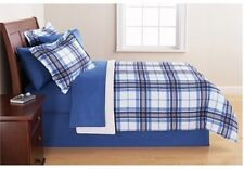 Blue Plaids 8 Piece All In One Plaid Bed In a Bag Bedding Sets-Choose Size-NEW