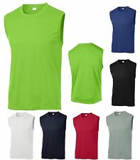 MENS SLEEVELESS T-SHIRT, MUSCLE, WORKOUT, RUNNING MOISTURE WICKING S-XL 2X 3X 4X
