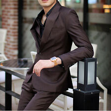 07 New Men's One Botton Full Dress Casual Business Slim fit Purple Suits 6 Size