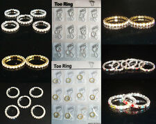 New Lots Fashion Row More Colors Styles Stretchy Crystal Rhinestone Toe Rings