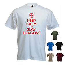 'Keep Calm and Slay Dragons' - mens St. Georges /St George's Day England Tshirt
