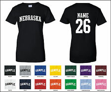 State of Nebraska Custom Personalized Name & Number Woman's T-shirt
