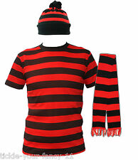 UNISEX, RED AND BLACK DENNIS THEME STRIPED HAT, JUMPER, SCARF MENS FANCY DRESS