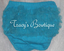 Baby Toddler Girls Turquoise Cotton Chiffon Ruffle Panty Bloomers Diaper Covers
