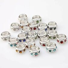Colorful Rhinestone Charms Silver Plated Round Beads 10mm Fit European Bracelets