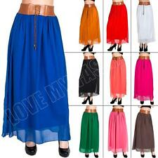 New Womens Ladies Chiffon Elastic Waist Belted Long Gypsy Maxi Skirt Dress Size