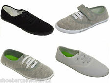 Girls Boys Kids Grey White Lace Up Shoes Pumps Plimsole Casual Trainers 6 - UK 2