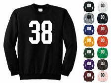 Number 38 Thirty Eight Sports Number Adult Crewneck Sweatshirt Front Print