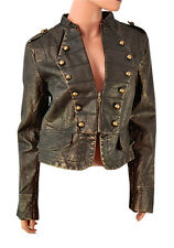 'Uniquisim New York' Ladies Military Style Biker Jacket in Faux Leather