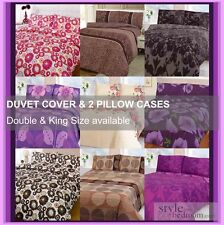 3pc Printed Bedding Duvet Quilt Cover Set in 9 Designs Double & King Size