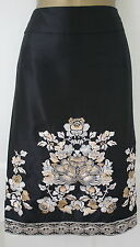 Stunning Monsoon Black Bronze Ivory Vintage 40's Bead Floral Pencil Wiggle Skirt