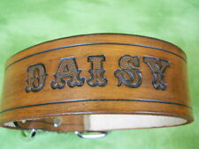 CUSTOM Leather Dog Collar Wide NAME, Choose COLOR, add STUDS, PERSONALIZED FREE