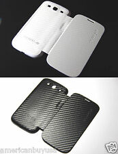 Black or White FOLIO Carbon Fiber Battery Back Cover Case Samsung Galaxy SIII S3