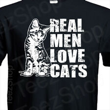 REAL MEN LOVE CATS Funny Animal pet lover catz Father's day gift kitten T-shirt