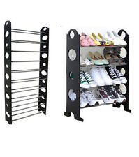 FOUR OR TEN TIER SHOE RACK STORAGE SHELF BLACK HOLDS 12 / 30 SHOES BRAND NEW