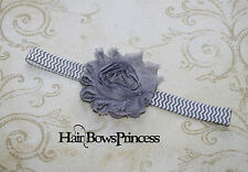 Gray white Chevron Vintage Baby Shabby Flower Headband, baby girl,baby toddler