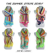 SUMMER STRIPED SCARF lightweight wrap shawl colorful spring beach designer hip