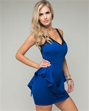 New Womens Royal Blue Mesh Inset Trendy Sweetheart Peplum Dress Ladies Clothing