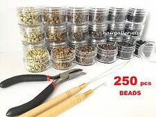 Feather Hair Extension TOOL KIT 250 SILICONE MICRO BEADS PLIERS HOOK LOOP USA