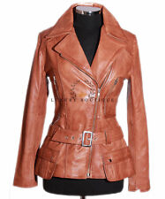 Diaz Tan Ladies Womens Retro Casual Designer Real Waxed Lambskin Leather Jacket