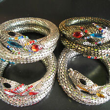 Silver & Gold Wrap Pave Snake Bracelet Sexy & Seductive With Crystal Diamante