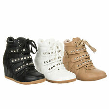 New Velcro Lace Up High Top Hidden Wedge Fashion Sneaker Bootie Boots SN1213