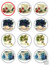 vintage teacup cup cake toppers edible rice paper choose  either 12 or 20