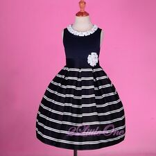 Striped Formal Occasion Dress Wedding Flower Girl Pageant Navy Blue Sz 4-10 #245