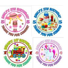 Personalised Birthday Party Stickers - lots of designs - 3 sizes available