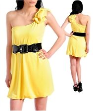 New Womens Cute Fashion One Shoulder Spring Yellow Dress Clothing Stores Online