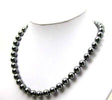 "SALE 8MM Round natural High Quality Magnetic Hematite 18"" Necklace-nec2307"