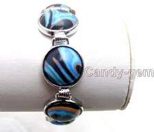"SALE Big 18mm Blue zebra stripe Round agate beads adjustable 7-8"" Bracelet -b246"