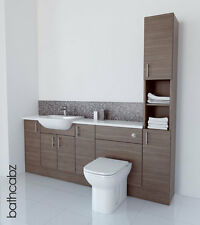 GREY BROWN BATHROOM FITTED FURNITURE 2100MM TALL BOY