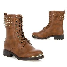 New Wild Diva Women Studded Spike Lace Up Military Combat Boot TIMBERLY-62 WHISK
