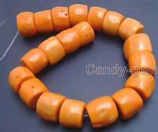 "SALE Big 20-30mm High Quality Nature Orange Column Knurl Coral strand 16""-l533"